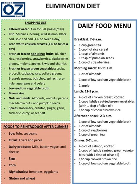 printable diet plans the elimination diet plan for food allergies the dr oz show