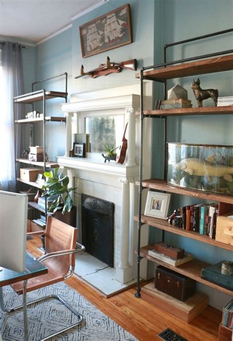 modern industrial shelves   fireplace home