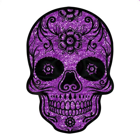 sugar skull purple glitter sparkle day of the dead sticker 4 quot