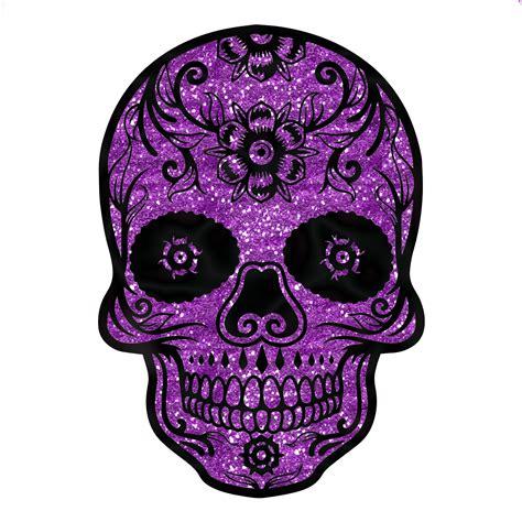 sugar skull purple glitter sparkle day of the dead sticker 4 quot