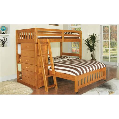 bunk beds twin over full futon discovery world furniture honey twin over full loft bed