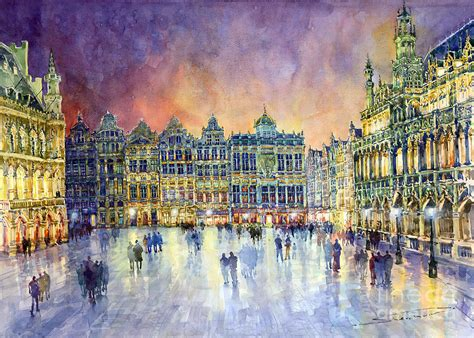paint places belgium brussel grand place grote markt by yuriy shevchuk