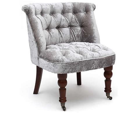 Clare Silver Crushed Velvet Bedroom Chair Bedroom Chair