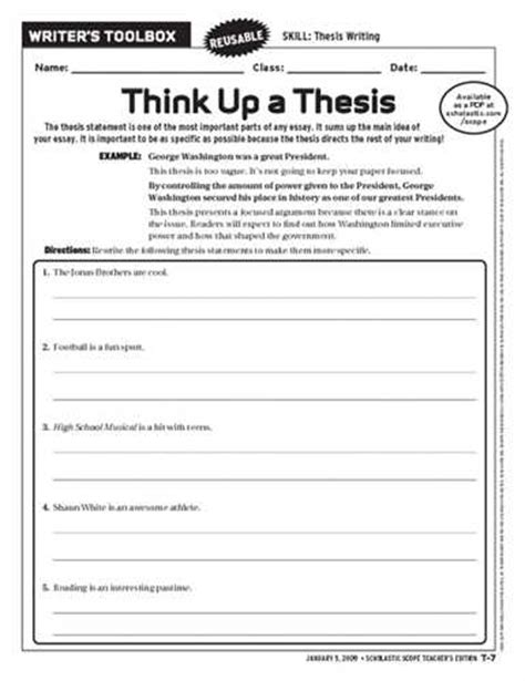 School Thesis Generator by Thesis Statement Worksheet Free Printable Worksheets