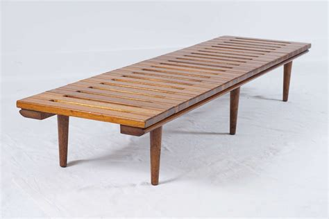 wooden slat bench mid century low wooden slat bench at 1stdibs