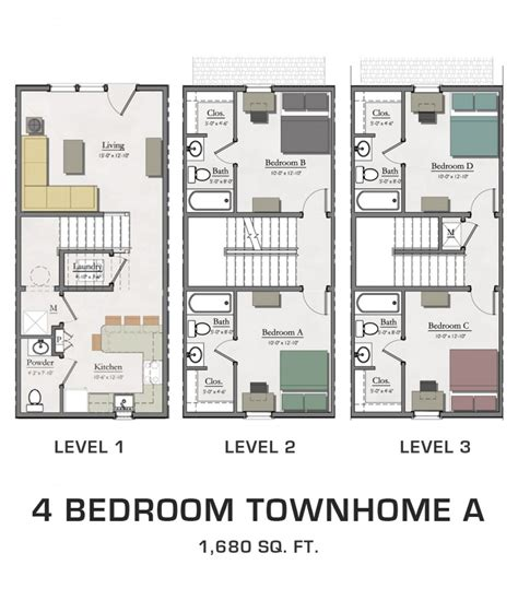 4 bedroom townhouse floor plans 4 bedroom townhome a lofts and townhomes