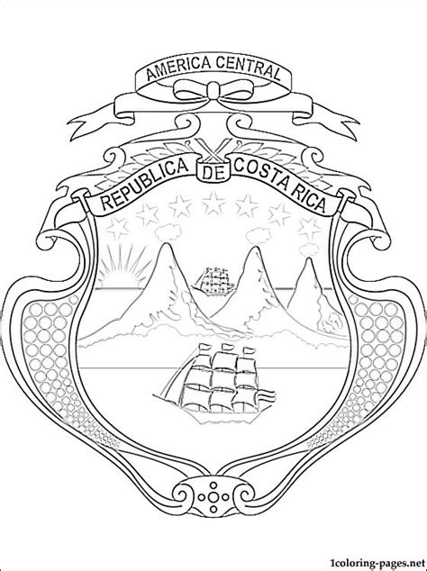 costa rica coat of arms coloring page coloring pages