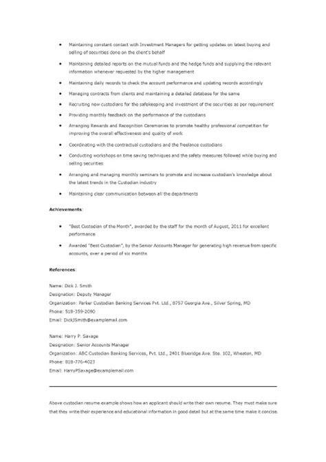 custodian resume sles 28 images resume sles custodian