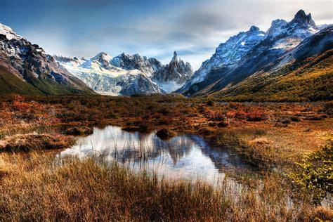patagonia mountains lake reflection chile hdr wallpaper
