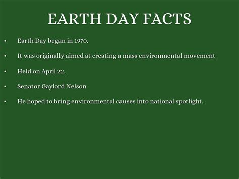 Earth Day Facts by Earth Day History By Nicgiraff