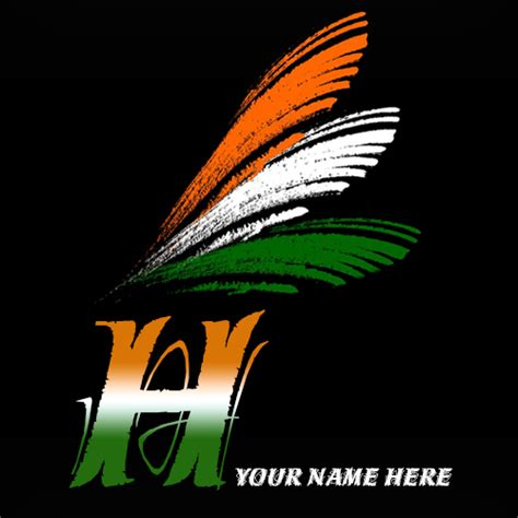 H Indian Flag Image write your name on h alphabet indian flag images