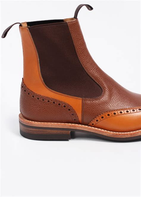 trickers x triads two tone leather chelsea brogue boots