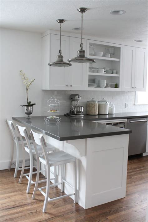 White And Grey Countertops by This Is It White Cabinets Subway Tile Quartz