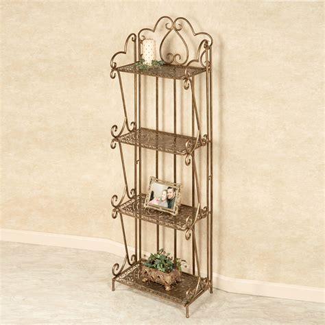 etagere antik mazie paisley antique gold four shelf etagere