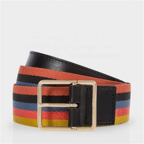Paul Smith Metal Keepers Belt by Paul Smith S Rainbow Stripe Integrated Keeper Belt