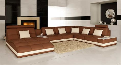 Tables For Sectional Sofas by Brown Leather Sectional Sofa With Built In End Table Vg143