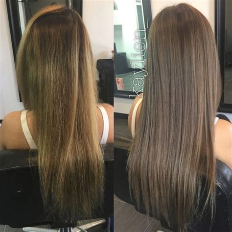 turning dark brown hair to blonde from uneven brassy color to light smokey ash brown no