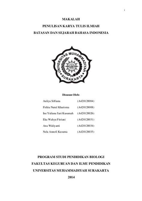 Makalah Bahasa Indonesia Dalam Penulisan Karya Ilmiah