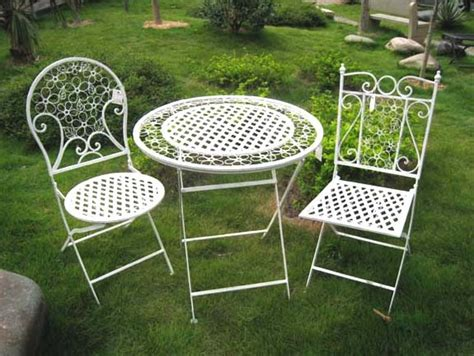 Metal Patio Furniture China 3pc Superior Fashion White Metal Folding