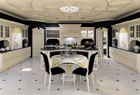 luxury kitchen kitchen in lacquered wood for classical dining room
