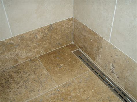 Linear Drain In Walk In Shower Tropical Bathroom Bathroom Shower Drains