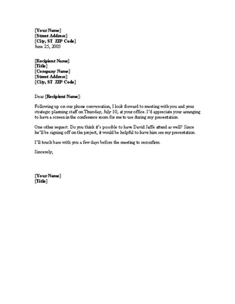 Confirmation Letter Regarding Meeting Confirmation Of Meeting Letter Templates