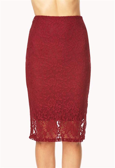 Forever21 Zipper Lace Skirt Branded forever 21 lovely lace midi skirt in burgundy lyst