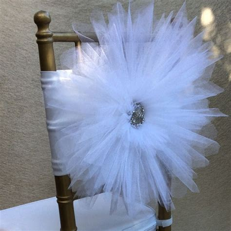 tulle chair sashes diy white tulle chair decoration with beautiful silver brooch