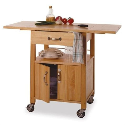 Kitchen Cart by Winsome Butcher Block W Drop Leaf Finish Kitchen