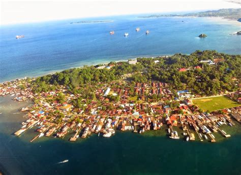 Sarung Papua sorong sorong indonesia airplane view on the sorong city papua