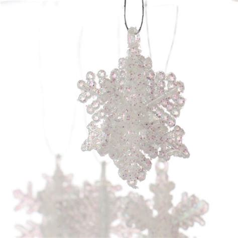glittered miniature dimensional snowflake ornaments