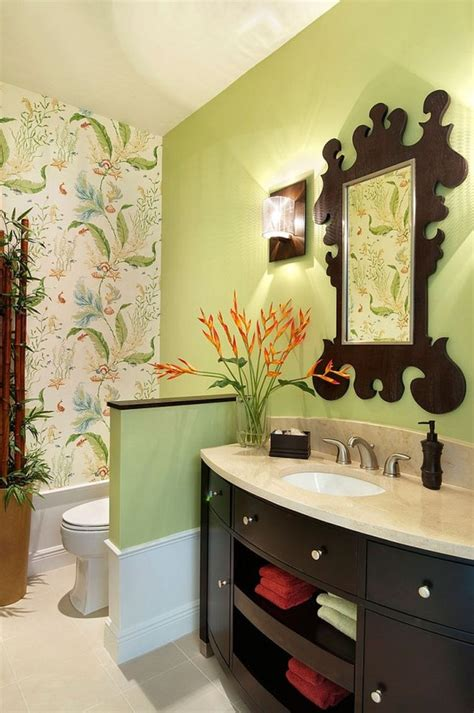 Hot Summer Trend 25 Dashing Powder Rooms With Tropical Flair | pacific island masks and african drums create a