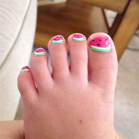 Stewart Gets Nails Toes Did by 2yr Toe Designs Of Watermelons I Did Pedi