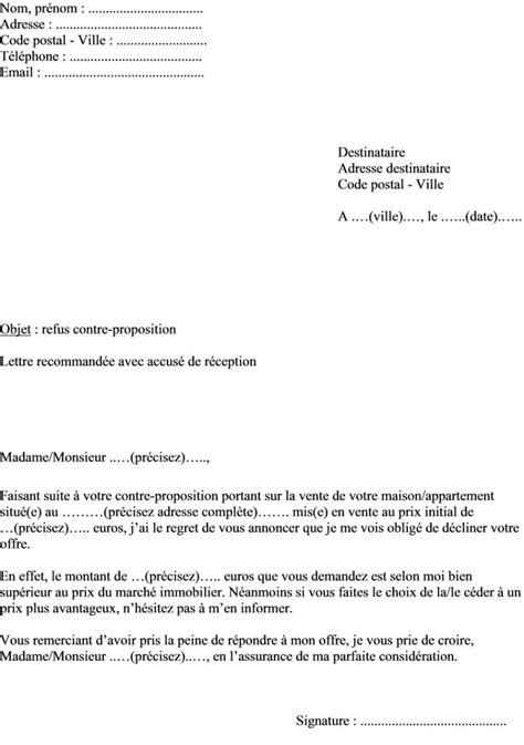 Exemple De Lettre Offre D Achat Immobilier Mod 232 Le De Lettre Refuser Contre Proposition Pour L Achat D Un Bien Immobilier Maison