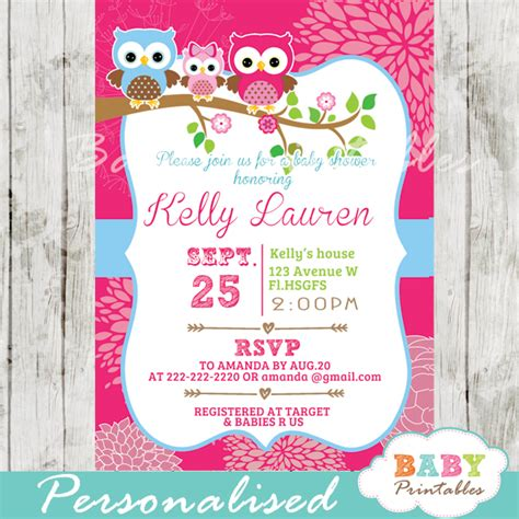 hot pink owl family baby shower invitation card d120