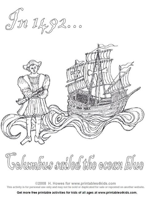 printable coloring pages for columbus day christopher columbus printable coloring pages