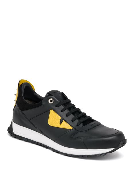 fendi sneakers fendi bugs leather athletic sneakers in black for lyst