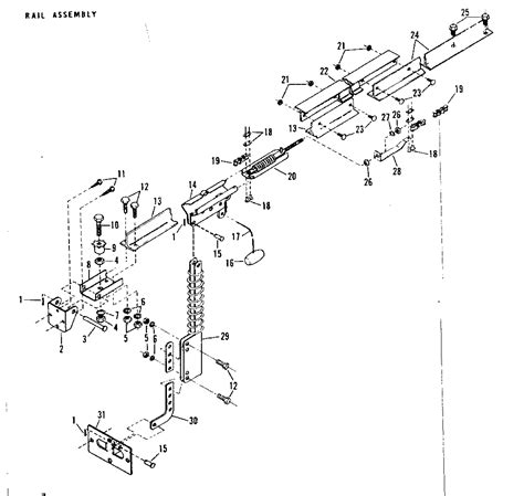 Craftsman Garage Door Opener Parts Diagram Rail Assembly Diagram Parts List For Model 139654020 Craftsman Parts Garage Door Opener Parts