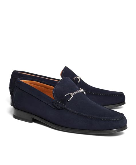 brothers suede loafers brothers suede buckle loafers in blue for navy