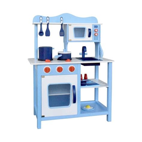 wooden furniture for kitchen blue wooden kitchen play set 18 pieces buy play