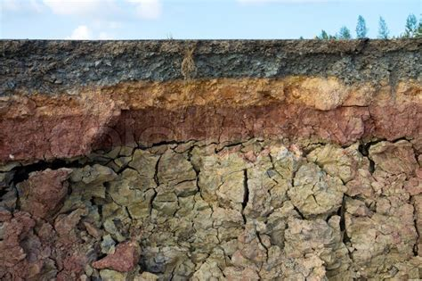 Ground Section by The Curb Erosion From Storms To Indicate The Layers Of