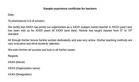 experience certificate  english teacher experience