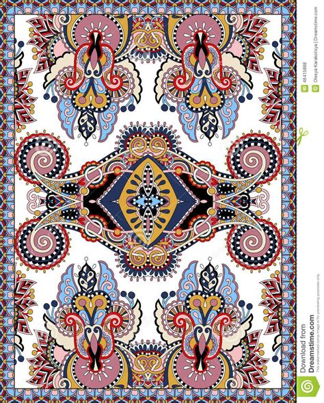 Upholstery Canvas Ukrainian Floral Carpet Design For Print On Canvas Stock