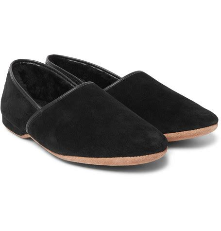 mr porter slippers derek shearling lined suede slippers