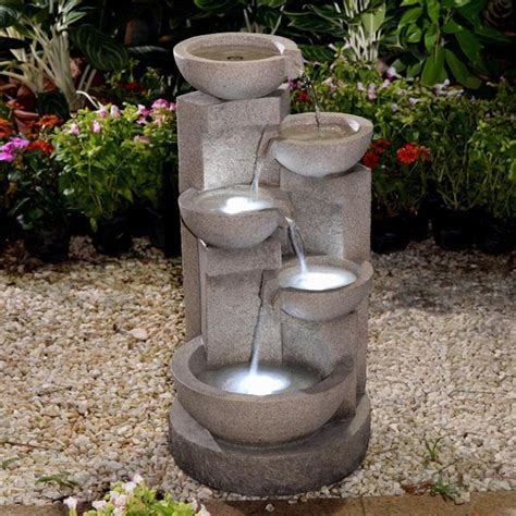 jeco fcl107 multi tier bowls water fountain with led light