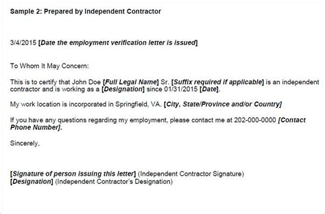 Verification Letter For Independent Contractor Employment Verification Letter Templates Free Premium