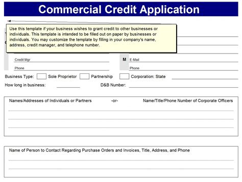 Commercial Credit Application Template Business Excel Templates Excel Business Templates