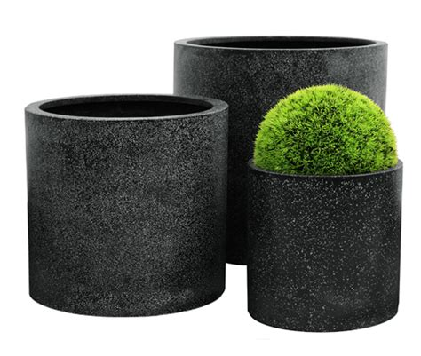 Terrazzo Planters by Terrazzo Cylinder Planter Black 163 49 99