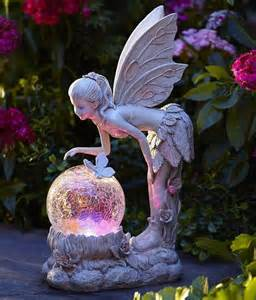 fairies lights solar light globe statue color changing garden