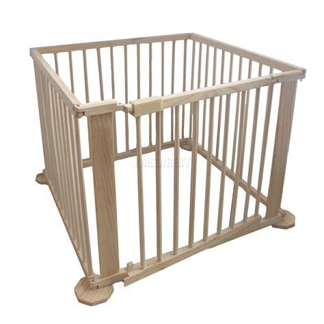 new baby child foldable playpen play pen room divider wooden 4 side heavy duty ebay